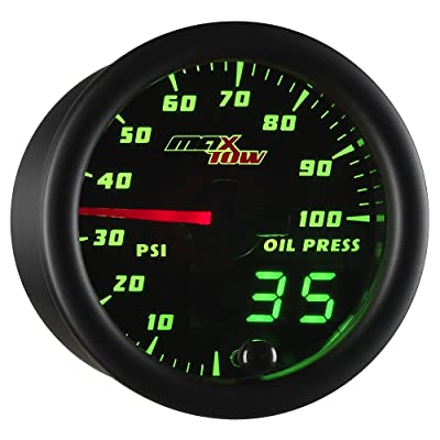 "MaxTow Double Vision 100 PSI Oil Pressure Gauge Kit - Includes Electronic Sensor - Black Gauge Face - Green LED Illuminated Dial - Analog & Digital Readouts - for Trucks - 2-1/16"" 52mm: Automotive"