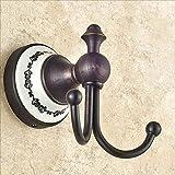 BJLWT Black Antique Hook, Full Copper Bathroom Pendant Single Hook American Country Coat Hook, Beautiful and durable