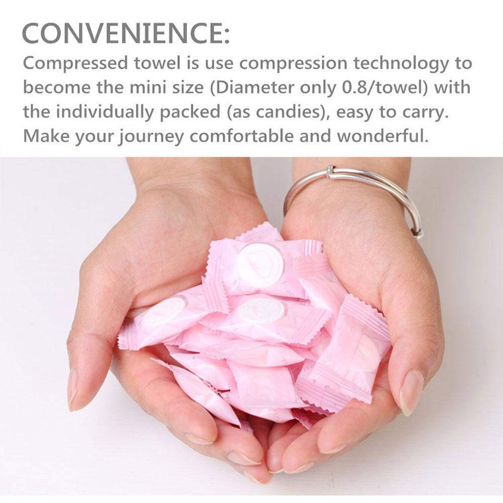Kobwa - Toallas de mano para viaje, 50 unidades, desechables, de algodón puro, portátil, para la cara, toalla facial - Mini pañuelo mágico de monedas para ...
