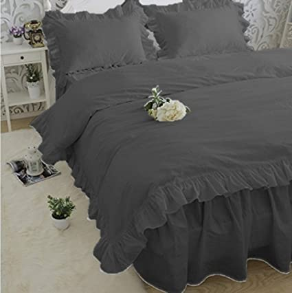 3-PC Edge Ruffle Duvet Cover Set 800 TC Cotton Solid White King Queen Twin New