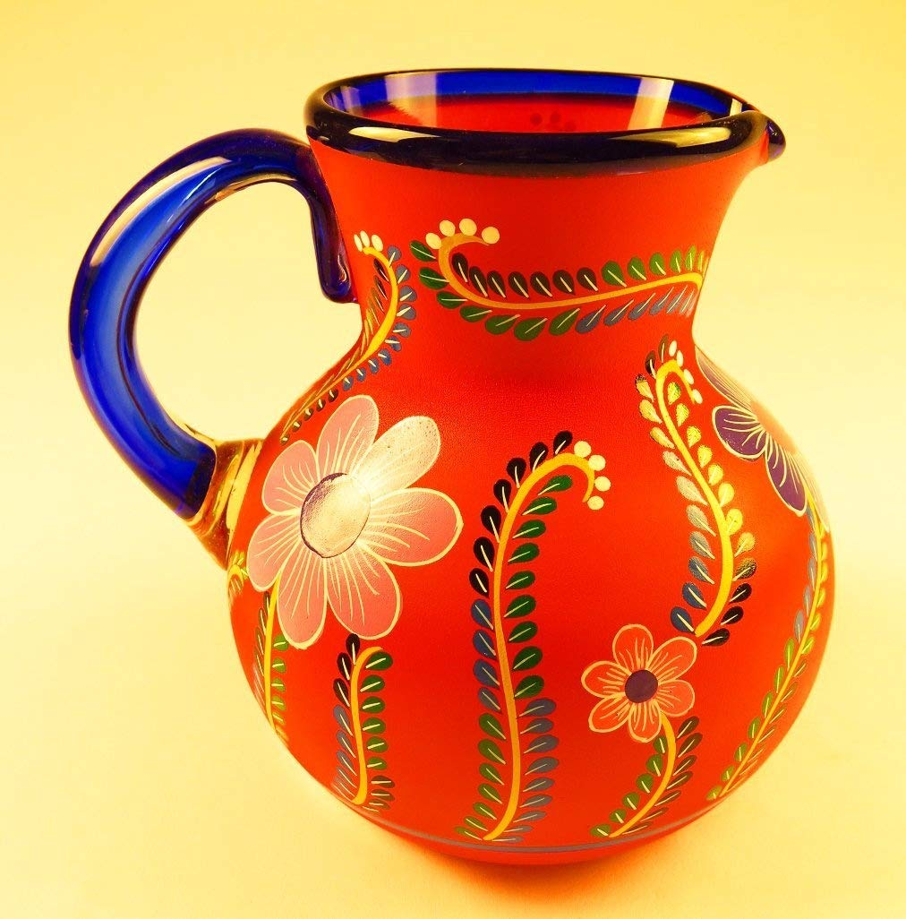 Mexican Glass and Pitcher set with dispaly rack, Hand Blown, Hand Painted, Assorted Colors with various flowers, 16 OZ Eye4Art
