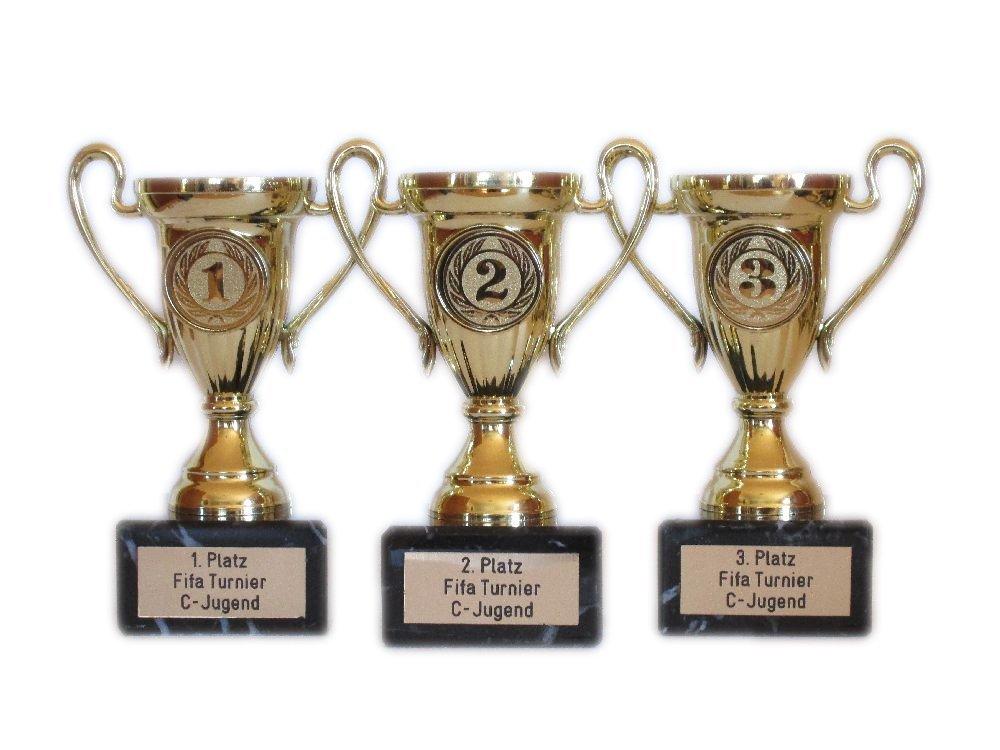 mit Gravur und 3 Anstecknadeln 1,2,3 R . 3er-Serie Sportpokale F/ür Angeln, Bowling, Dart, Fu/ßball, Kegeln, Sch/ützen, Poker und W/ürfeln