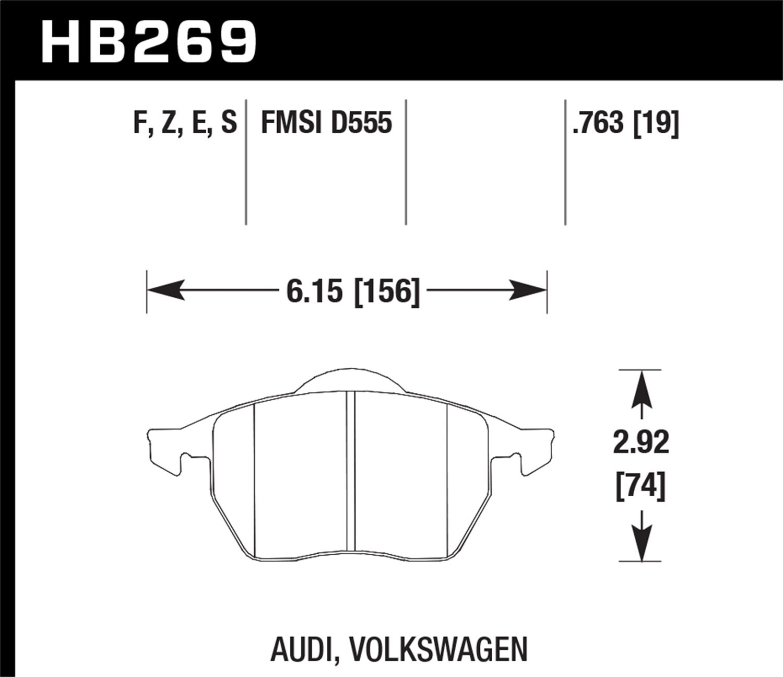 Hawk Performance HB269F.763A HPS Performance Ceramic Brake Pad