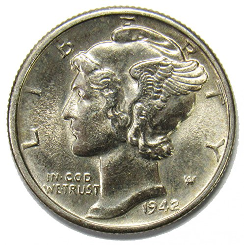 - 1942 P Silver Mercury Dime 10¢ Brilliant Uncirculated