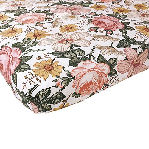 Woven Cotton Crib Sheet - Baby Girl (Garden Floral Crib Sheet) by The Mini Scout (Image #1)