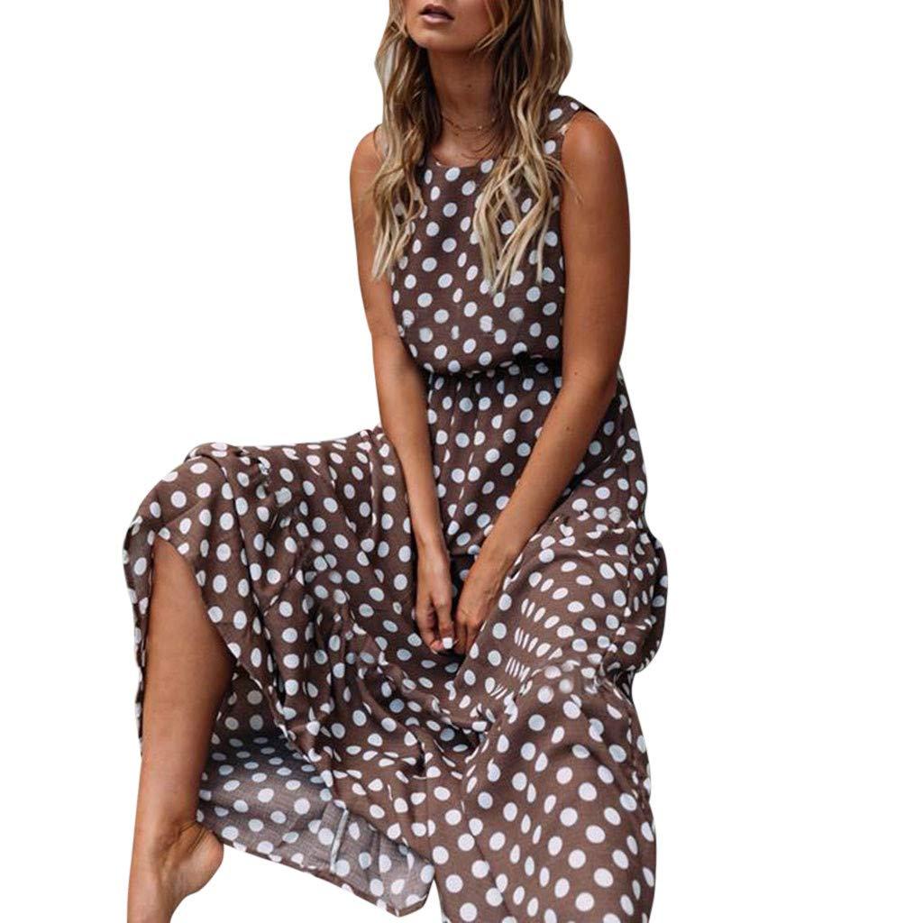 Longra Damen Sommerkleid Boho-Kleid im Polka Dot Design Ärmellos Strandkleid Lang Kleider Beach Dress Rundhals Maxikleider Damen Elegant Cocktailkleid Abendkleid Chiffon Partykleid