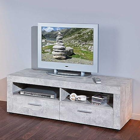 Mobile Porta Tv Grigio.Mobile Porta Tv In Grigio Effetto Cemento Pharao24 Amazon