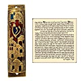 Gold Enamel Jewish MEZUZAH CASE with Scroll Jerusalem Israel Judaica Door Mezuza 4''