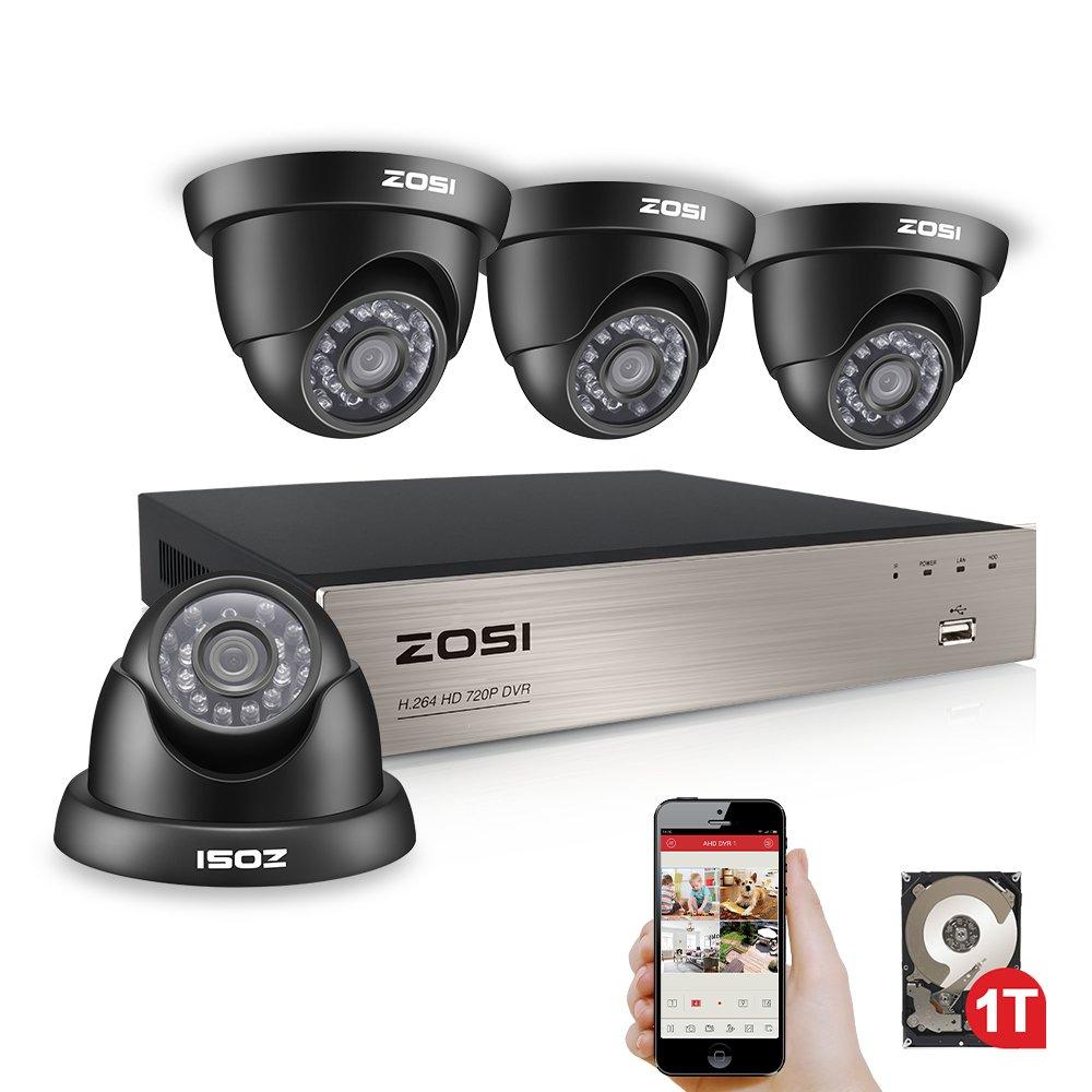 ZOSI 720P 8CH 4 Cá maras DVR 1TB Disco Duro Sistema de Seguridad 24 Leds Infrarrojo Visió n Nocturna 20m Detecció n de Movimientos