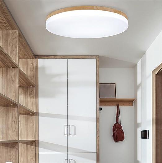 Sjun Deckenleuchte Holz Wohnzimmer Lampe Rund Flach Wohnzimmerlampe