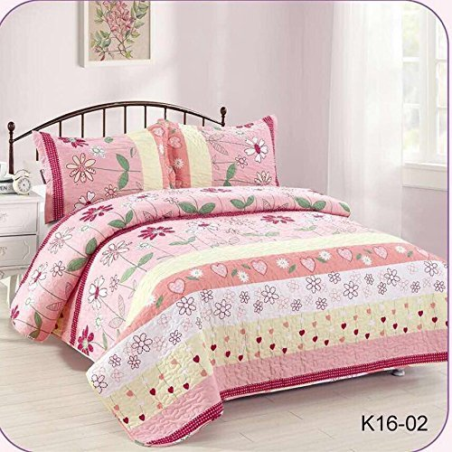 MB Collection Pink Yellow Floral Striped, Red Flower, White Flower and Yellow Flower 3 Piece Kids Bedspread Quilts Set Throw Blanket for Teens Girls Bed Printed Bedding Coverlet # Full Size 16-02