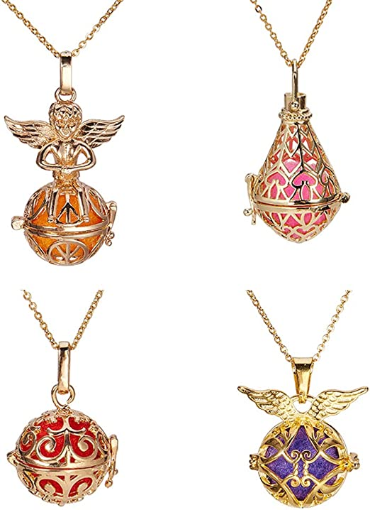 3PC Gold//Silver Plated 8 Pattern Locket Ball Pendant DIY Fragrance Oil Diffuser