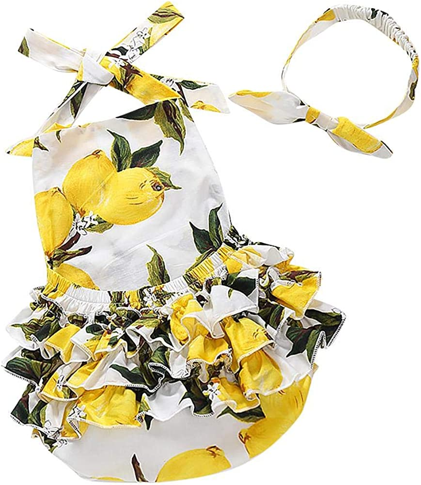 IDOPIP Baby Girl/'s Floral Print Ruffles Romper Sunsuit Summer Clothes with Headband