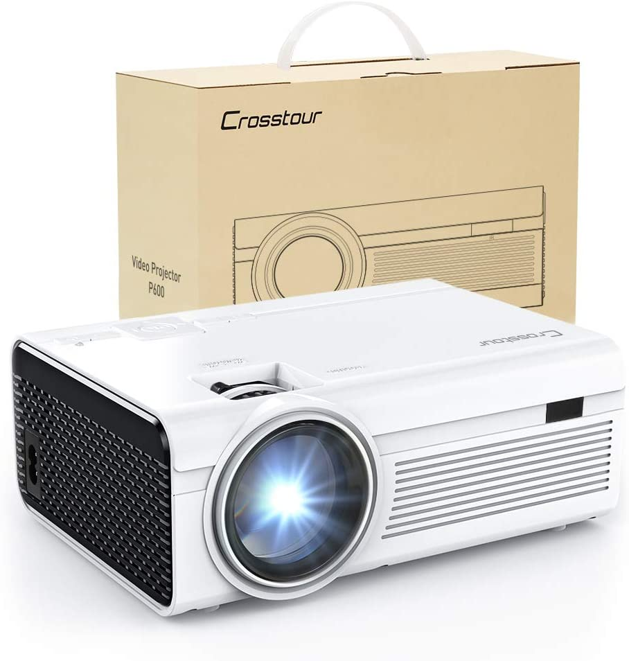 Projector, Crosstour Mini LED Video Projector Home Theater Supporting 1080P 55,000 Hours Lamp Life Compatible with HDMI/USB/SD Card/VGA/AV and Smartphone (Black)