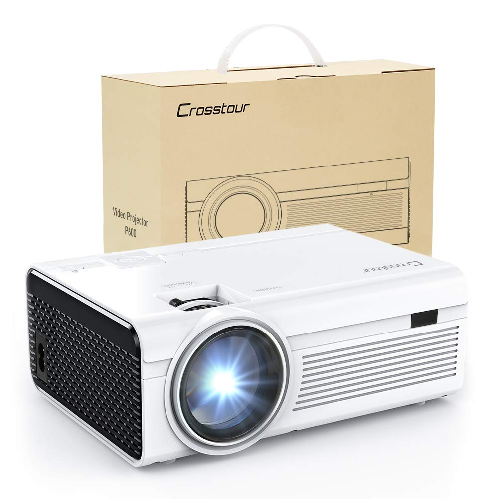 Projector, Mini LED Video Projector 1080P Supported, Crosstour HD Portable Projector with HDMI and AV Cable, Work with TV Box/PC/PS4/HDMI/VGA/TF/AV/USB/Smartphones