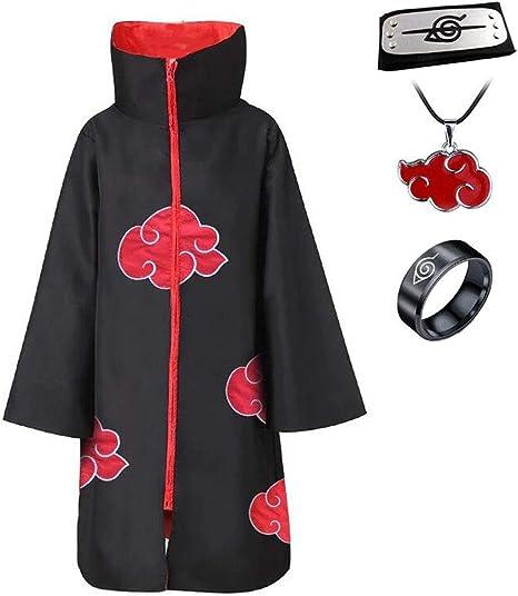 Anime Naruto Akatsuki Uchiha Itachi Cosplay Cloak Ring+Headband+Necklace 4PCS