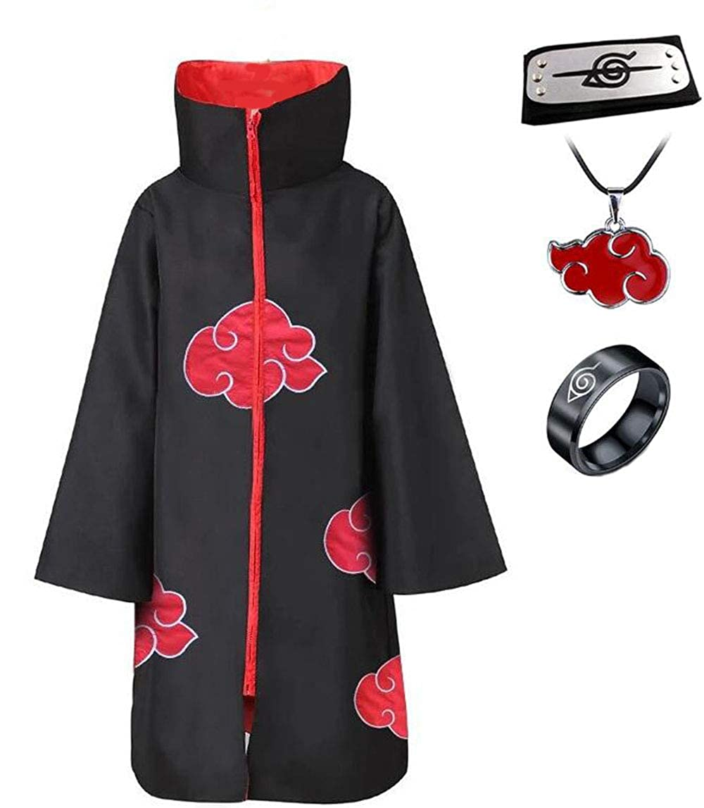 Imcneal Anime Naruto Akatsuki//Uchiha Itachi Cosplay Halloween Christmas Party Costume Cloak Cape with Headband Necklace Ring