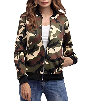 Otoño Mujeres Bomber Chaquetas Joven Moda Camuflaje Jacket ...