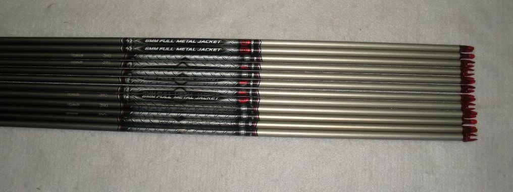 Easton 6mm ST Axis Full Metal Jacket Arrows 320 w/Blazer Vanes Blaze Wraps 1Dz.