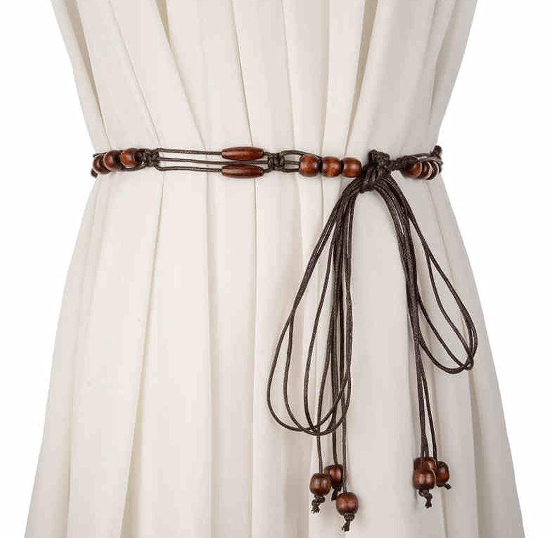 Women Fashion Decorative Knitted Belt Tassels Waist Chain Brown Waistband