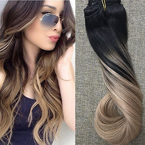 Full Shine 20'' 10 Pcs 140gram Dip Dye Clip in Hair Extensions Color #1B Fading to Color #18 Clip in Ombre Human Hair Extensions Thick Remy Clip in Hair Extensions by Full Shine
