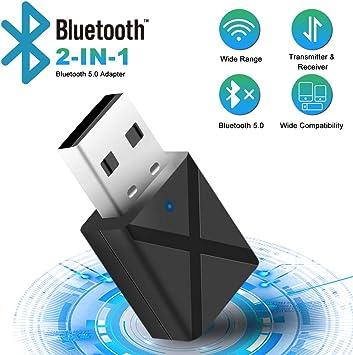 Adaptador Bluetooth 5.0 USB Dongle,2 en 1 Bluetooth Transmisor y ...