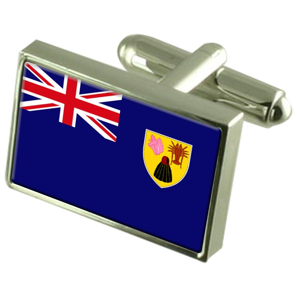 Turks /& Caicos Islands Flag Cufflinks Tie Clip Matching Box Gift Set