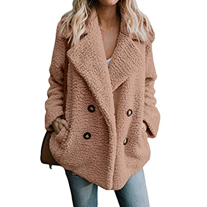 Besde Womens Winter Casual Parka Jacket Lapel Fleece Open Front Outerwear Coat with Pockets