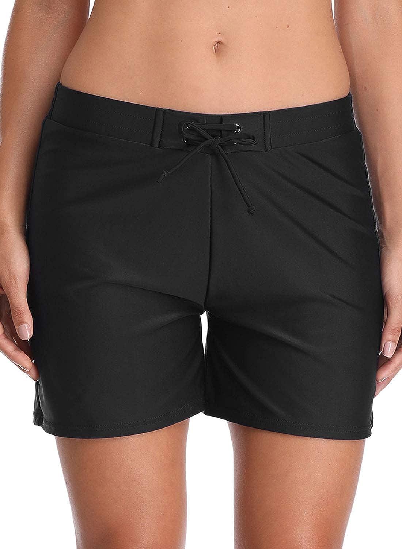 Black 3 Avellara Womens Long Swim Shorts Quick Dry Boardshorts Stretch Beach Board Shorts