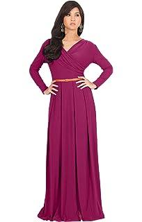 5dc315b2c97 KOH KOH Womens Long V-Neck Full Sleeve Semi Formal Flowy Evening Cute Maxi  Dress