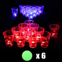 Xing An The Dark Beer Pong Set Beer Pong Party Cup Set Glow Party Drinking Game, LED Beer Pong Cups and Glow-in-The-Dark Balls (22 Set)