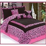 Dovedote Safarina Zebra Animal Print Comforter Set, Queen - Pink