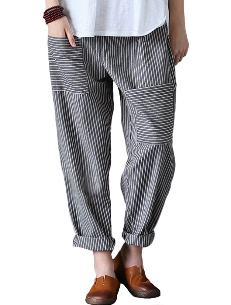 Mordenmiss Women's Casual Cotton Linen Pant w/Unique Pockets (L, Style 1-Gray)