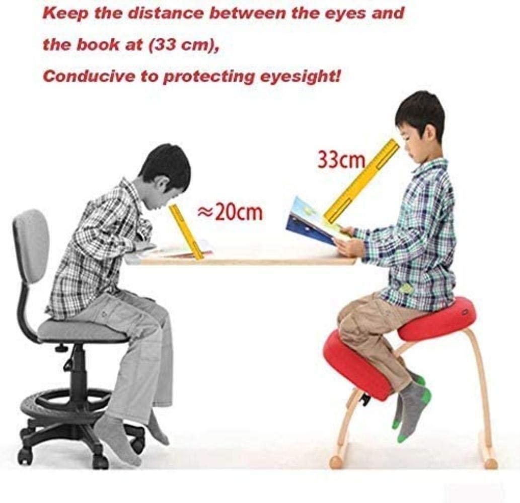 Korrektiv hållningsstol linne tyg student anti-puckel knästolar justerbar ortopedisk pall lindrar rygg knästol (färg: Grön) Rosa