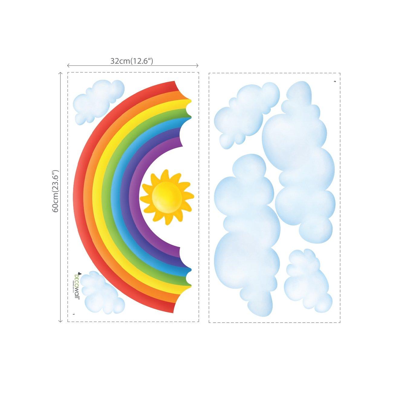 DECOWALL DA-1713P1702 Nubes y Arco Iris Vinilo Pegatinas Decorativas Adhesiva Pared Dormitorio Sal/ón Guarder/ía Habitaci/ón Infantiles Ni/ños Beb/és