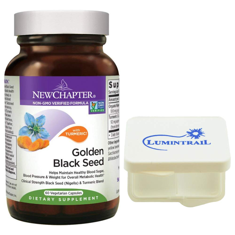 New Chapter Black Seed Oil - Golden Black Seed, Helps Maintain Overall Metabolic Health - 60 Vegetarian Capsules Bundle with a Lumintrail Pill Case