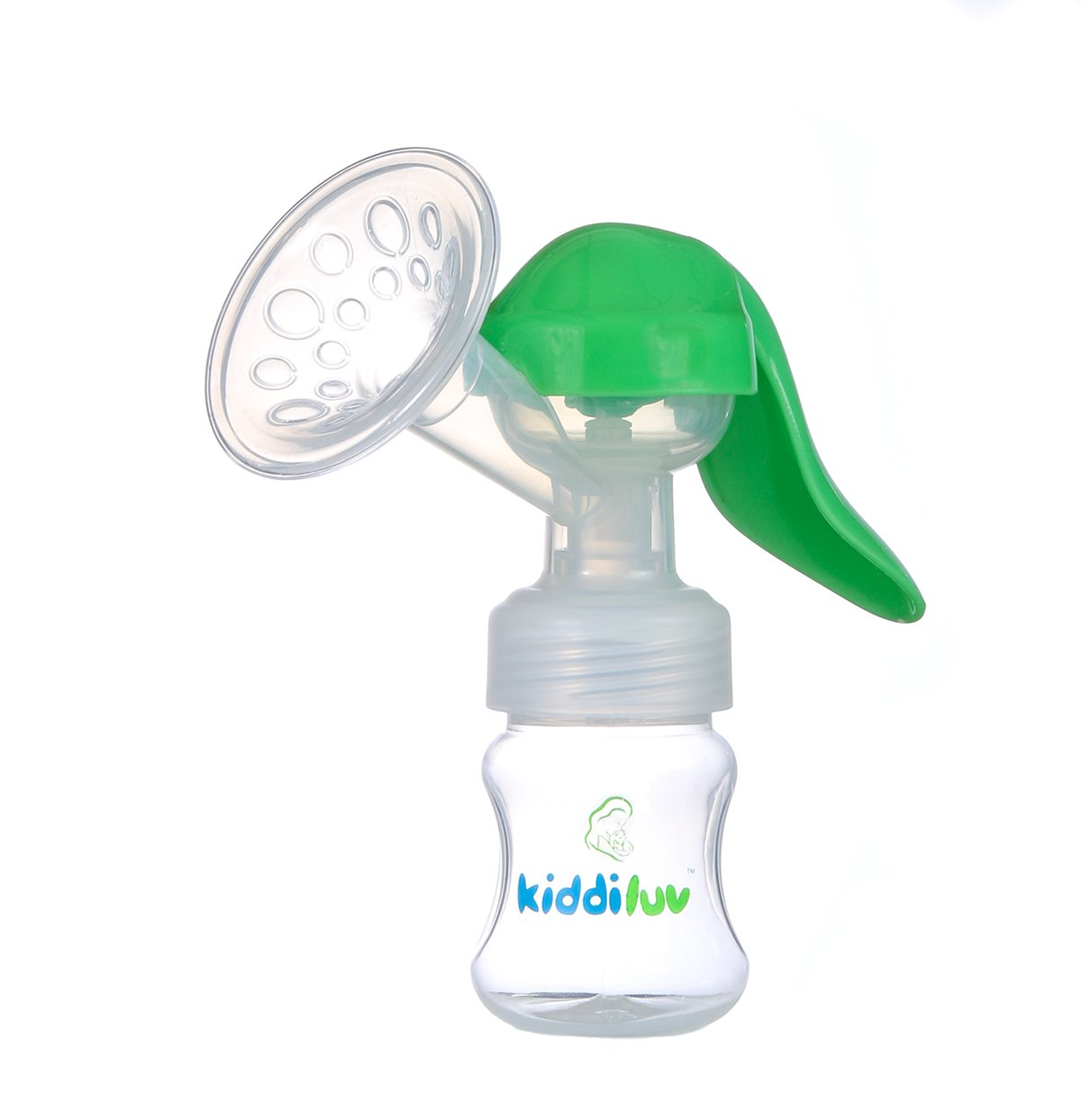 Kiddiluv Manual Breast Pump with Baby Bottle (Single) Portable, Travel Friendly, Handheld Breastfeeding Kit | Hypoallergenic Soft Silicone Breast Shield | Gentle, Efficient Suction