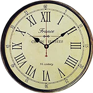 Wooden Wall Clock, Yesee Retro Style No Ticking Silent Clock Battery Operated with Famous Movement,[NO CASE] Vintage Decorative Wall Clock for Living Room,Bedroom (12 Inches, France Style)