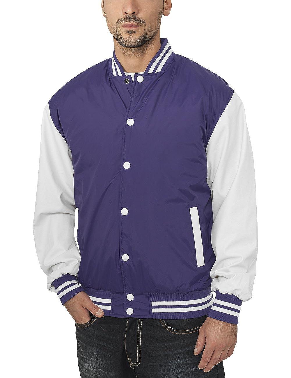 Urban Classics Jacke Light Jacket - Chaqueta Hombre, Multicolor (Purpur/White), X-Large (Talla del Fabricante: X-Large): Amazon.es: Ropa y accesorios