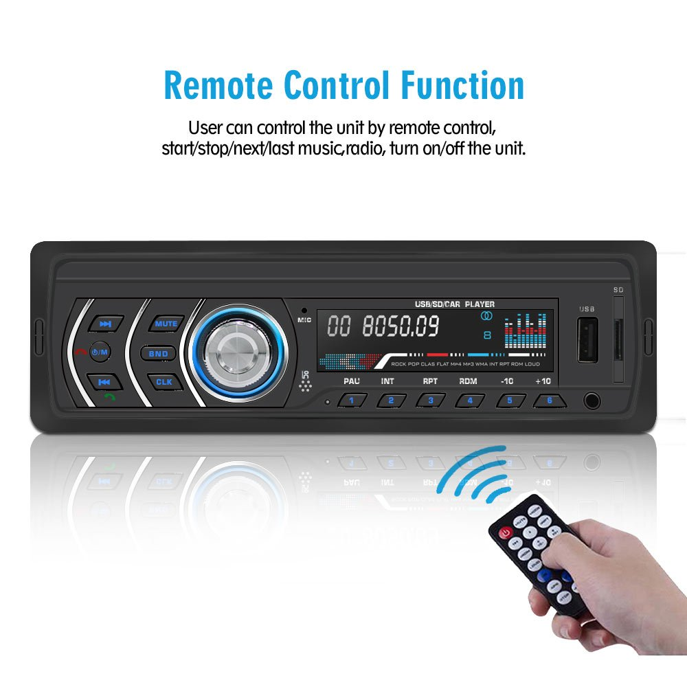1Din Car Stereo Player Car Radio FM and MP3 MP4 Wireless Receiver AUX with USB Port and SD Card Music Universal Player JQ1581