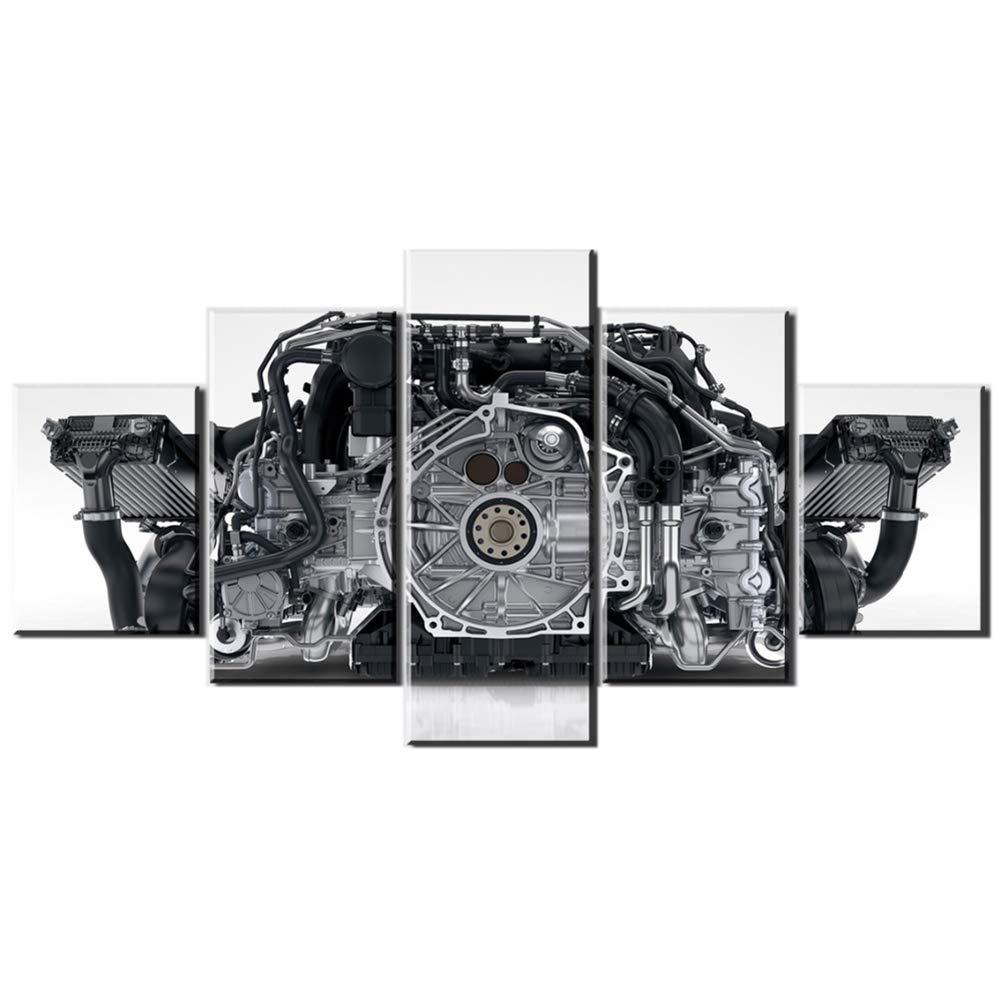 Motore Porsche 911 5 Pezzi Stampe su Tela Dipinti Opere dArte Quadri Moderni di Arte della Parete per La Cucina Decorazioni per La Casa con Cornice,50/_x/_100/_cm