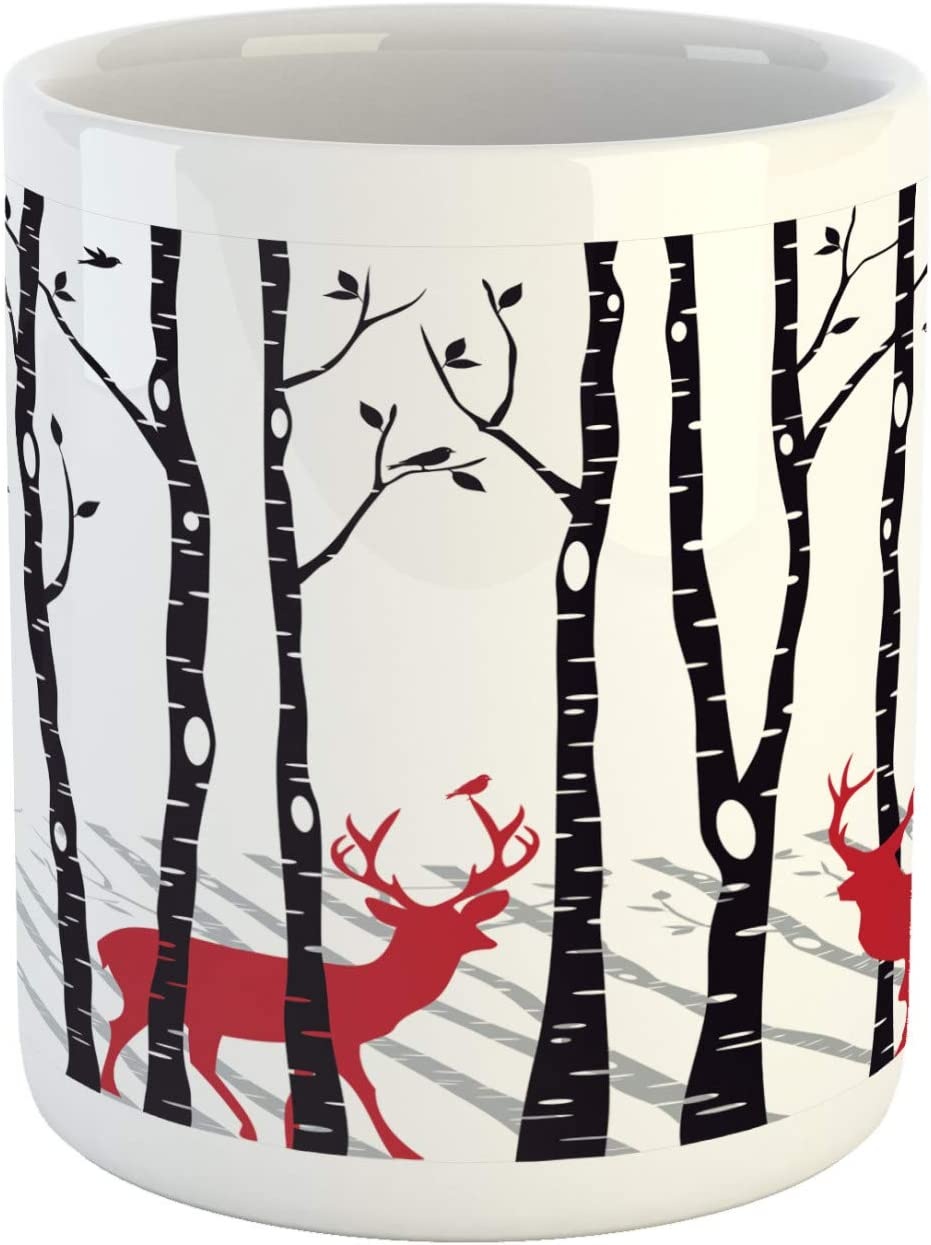 Ambesonne Antlers Mug, Deer Tree Forest with Red Holiday Theme Flying Leaves Branch Reindeer, Ceramic Coffee Mug Cup for Water Tea Drinks, 11 oz, White Red