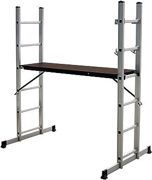 Charles Bentley Andamio de Escalera de Aluminio con Plataforma de Trabajo: Amazon.es: Bricolaje y herramientas