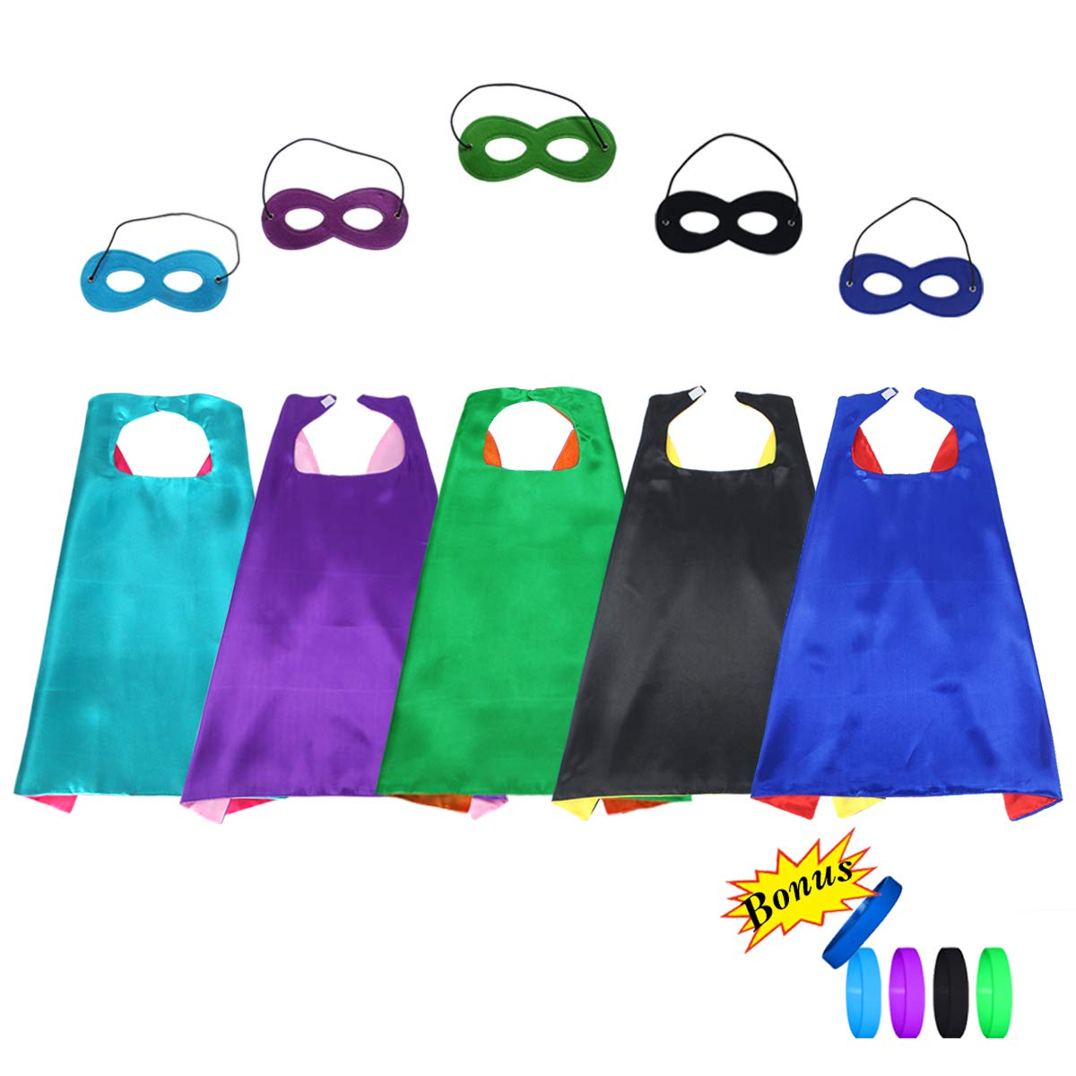 Kids Superhero Capes and Masks Dress Up Costume--Boys Girls Super Hero Theme Party Favors with 5 Bracelets,5 Pack D.Q.Z