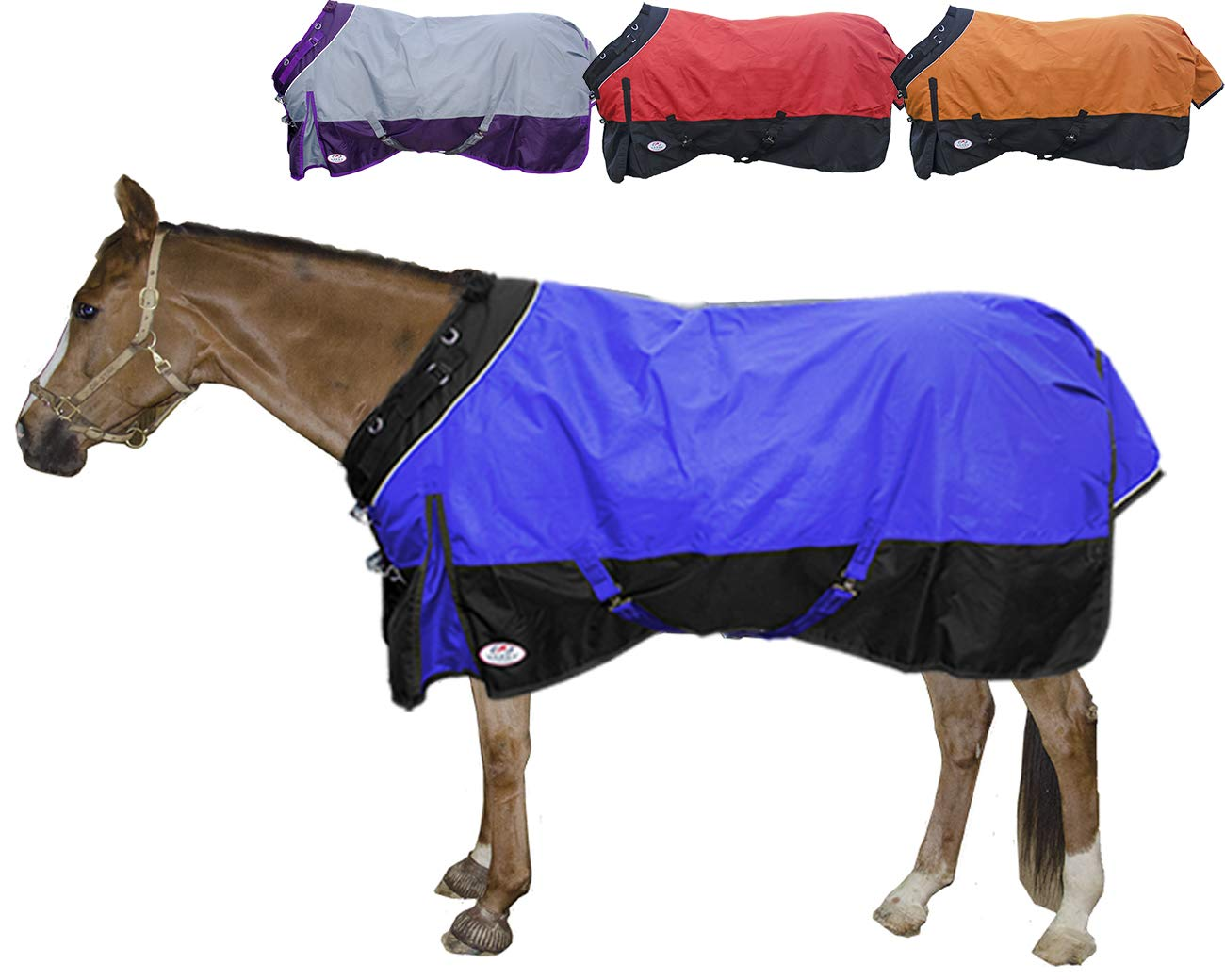 Derby Originals Windstorm Series Reflective Safety 1200D Ripstop Waterproof Nylon Horse Winter Turnout Blanket with 300g Insulation - Two Year Limited Manufacturer's Warranty, Electric Blue/Black by Derby Originals