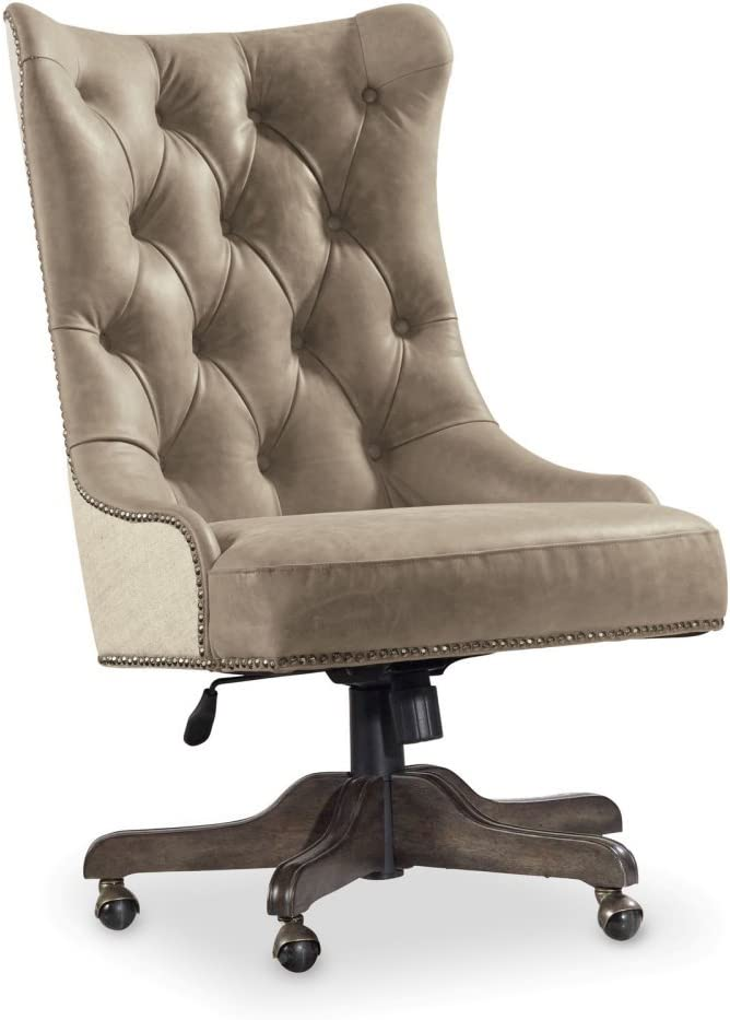 Hooker Furniture Vintage West Desk Chair in Beige and Dark Charcoal