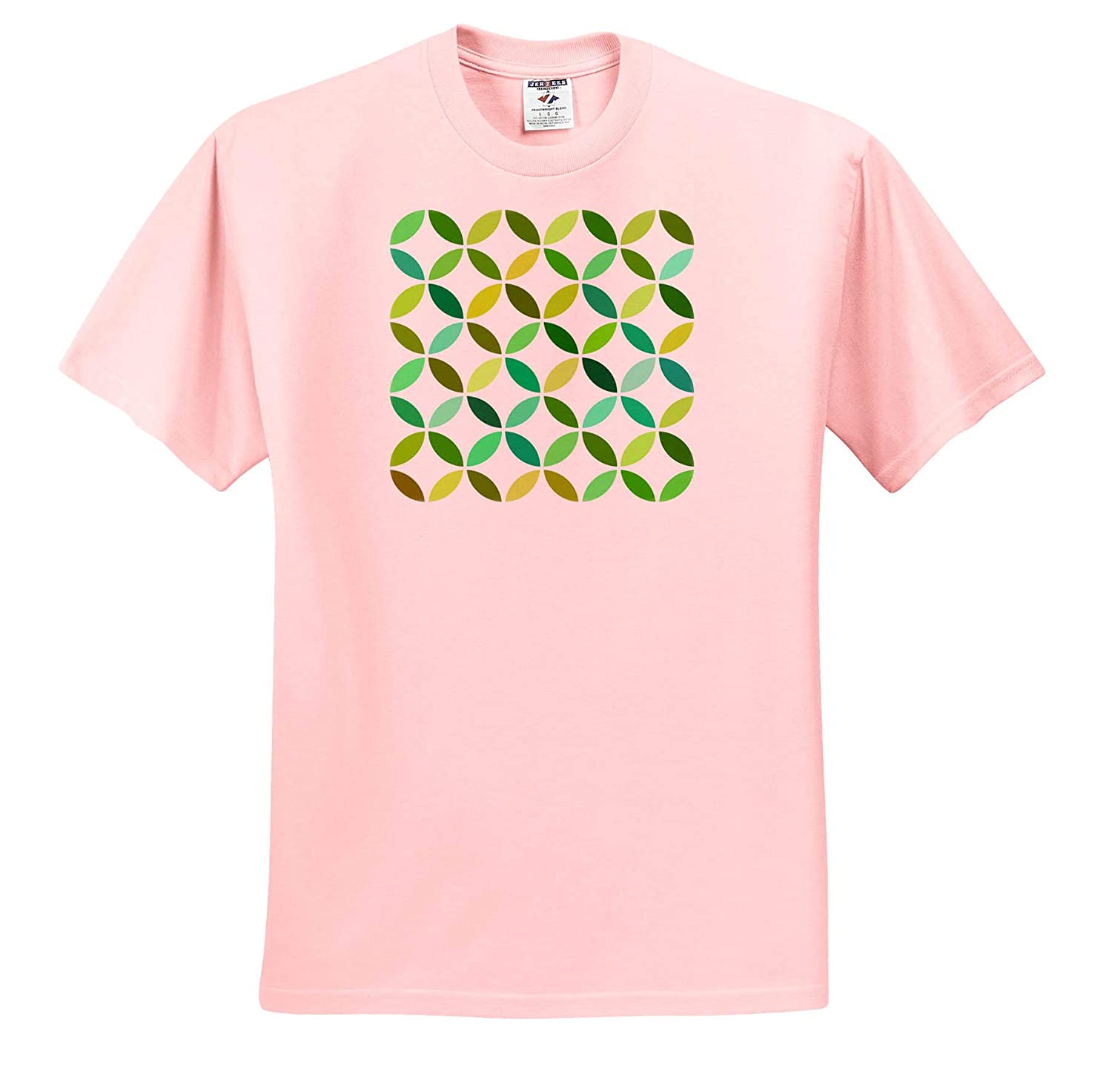 - T-Shirts 3dRose Natalie Paskell Geometric Designs Interlinking Circles in Contrasting Greens and White