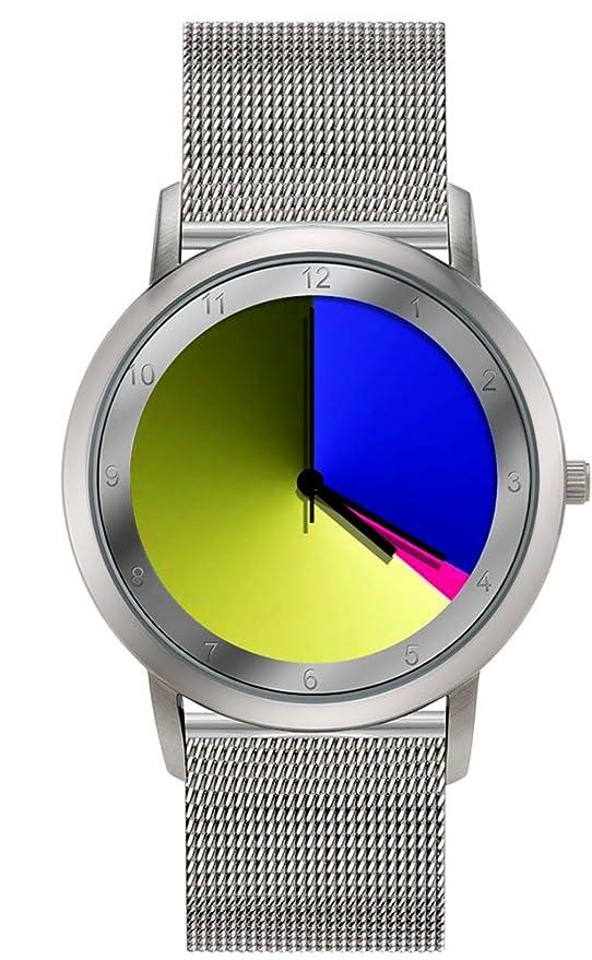 Rainbow e-motion of color Avantgardia - Reloj de cuarzo unisex, con correa de acero inoxidable, color plateado: Paul Heimbach: Amazon.es: Relojes