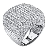 Round White Cubic Zirconia Pave .925 Sterling Silver Dome Ring