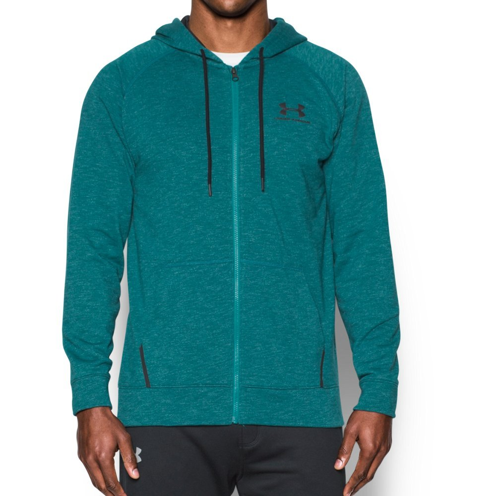 Under Armour Men's Sportstyle Fleece Full Zip Hoodie, Turquoise Sky /Black, Large